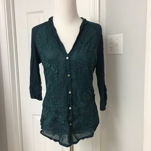 Anthropologie Embroidered Top by Tiny